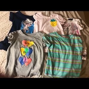 Lot of five size 4T girl's short sleeve shirts